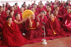 Geshe la at his final examination debate as Geshe Lharampa and taking oath.
